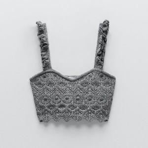 Zara Knit Crop Top Small Grey